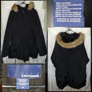 Basic Edition Fur Trimmed Winter Coat